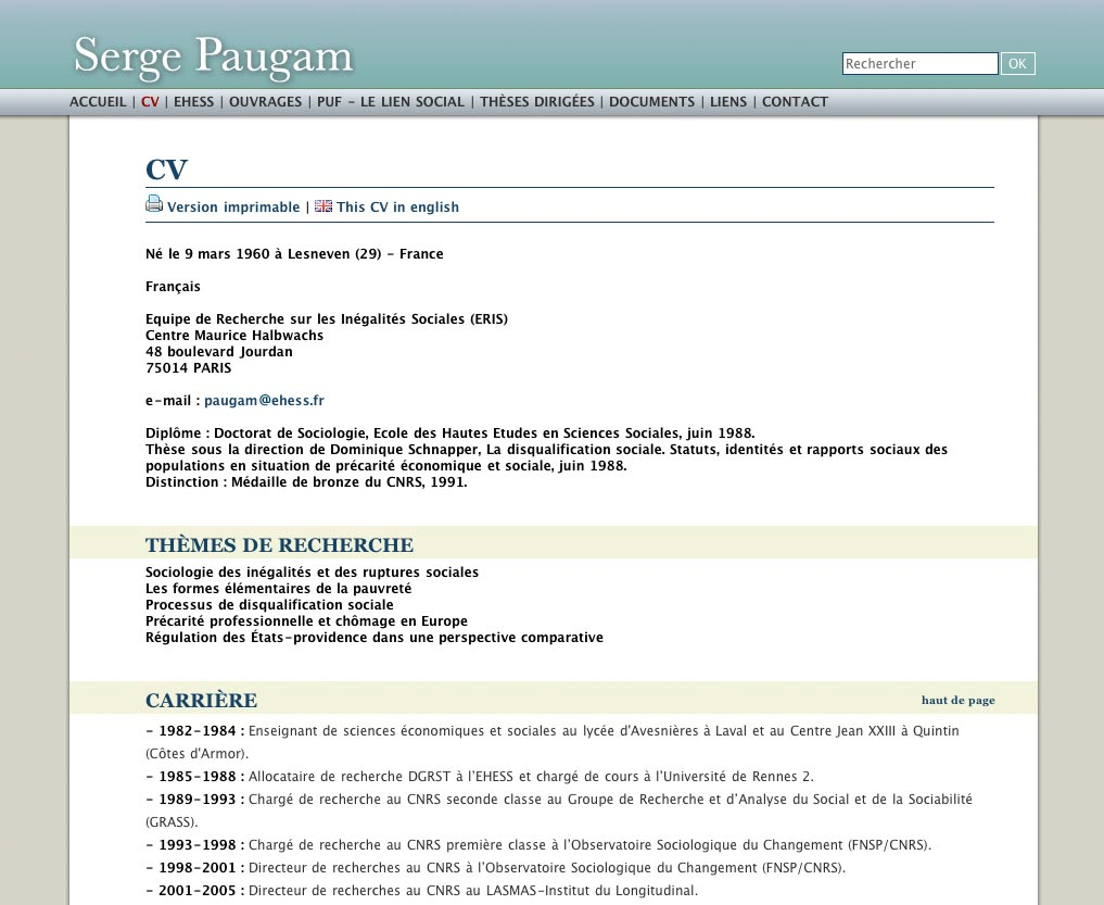 exemple cv sociologue